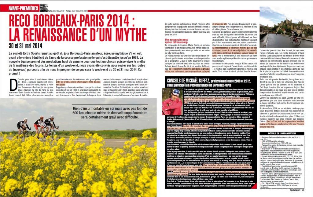 Reconnaissance de Bordeaux-Paris 2014